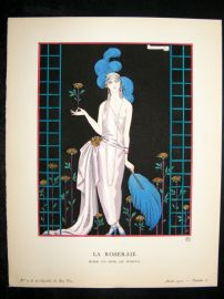 Gazette du Bon Ton by George Barbier 1922 Art Deco Pochoir. La Roseraie